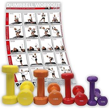 POWRX - Mancuerna de vinilo (8 unidades, | mancuernas Ideal para aerobic Pilates |