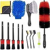 KLAS REMO 13pcs Kit de Limpieza para Coche Herramientas de Limpieza de Automóvil Cepillo para Llanta, Ventilación de Aire,Mot
