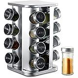 Carrousel à Épices Pivotant à 360° avec 16 Pots à Épices - Bocaux Hermétiques - Avec Etiquettes et Marqueur Effaçable