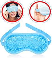 Gel Eye Mask Hot or Cold Pack - Ice Eye Mask Puffy Eyes and Dark Circles - Cooling Eye Mask Headaches Migraine and Sinus Pai