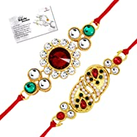 Live Evil Elegant Gold plated Stone Work Rakhi for Brother Sister with Raksha Bandhan Greeting Card having Traditional Ethnic Unique Design Specially Hand Made by Indian Craftsmen Pack of 2