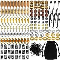 Perline per Barba Vichinga, Queta 150pcs Viking Beard Beads Nordiche per Barba Capelli Paracadute Ciondoli e Bracciali…