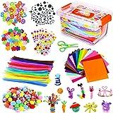 Kits d'artisanat Bricolage Set pour Enfants, Cure Pipe Cleaners Crafts Set Tiges de Fils Chenille Autocollant Paillettes Goog