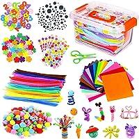 Kits d'artisanat Bricolage Set pour Enfants, Cure Pipe Cleaners Crafts Set Tiges de Fils Chenille Autocollant Paillettes…
