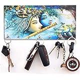 KK Craft Radha Krishna wooden key holder for home Wood Key Holder (7Hooks, Multicolor) (RV403)
