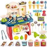 HERSITY Heladeria de Juguetes Pequeño Tienda de Helados Supermercado Comida Alimentos de Juguetes con Sonido y Luz Regalos pa