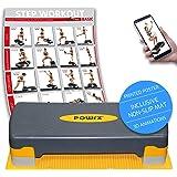 POWRX Steppbrett inkl. Workout & Anti-Rutsch-Matte I Aerobic Stepper höhenverstellbar I Home Step Stepbench Gymnastik