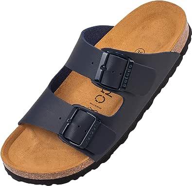 Palado® Damen Sandale Korfu   Made in EU   Pantoletten in modischen Farben   2-Riemen Sandaletten mit Natur Kork-Fussbett   Herren Hausschuhe mit Leder-Laufsohle
