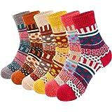 VoJoPi 6 Pares Calcetines Termicos de Mujer, Calcetines Invierno de Lana Frio Extremo, Calcetines Colores Cálidos de Confort