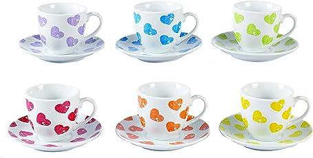 Borella Casalinghi Cuorecolor Set Caffe con Piatto, Porcellana, Multicolore, 12 Unità
