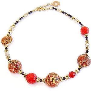 VENEZIA CLASSICA - Collana da Donna girocollo con perle in Vetro di Murano Originale, Collezione Linde, rosso con foglia in oro 24kt, Made in Italy certificato