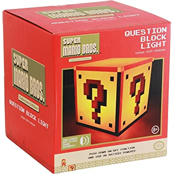 Official Nintendo Super Mario Question Block Night Light Bedside Lamp - Boxed