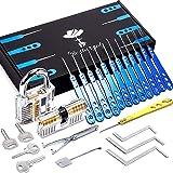 Bestargot - Lockpicking set, Dietrich Set, 24-delige blauwe high-end lock picking set van roestvrij staal met 2 transparante