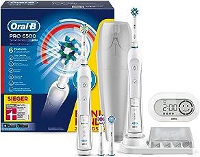 Oral-B Pro SmartSeries 6500 Elektrische Zahnbürste, 2 Handstücke mit Bluetooth-Verbindung und 4 Aufsteckbürsten, weiß