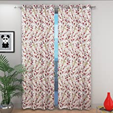Beautiful Long Crush Floral Print Window and Door Curtains (Set of 2)