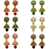 MEENAZ Traditional Wedding Temple Gold Meenakari Ethnic Antique South Indian Round Pearl Moti Feather Peacock Jhumkas…