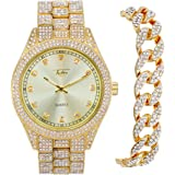 Men's ICY Bling-ed Out Bust Down Watch with CZ Diamond Iced Band and CZ Stud Indicators + Matching ICED Culture Cuban Link Br