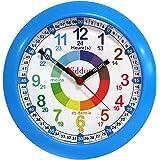 KIDDUS Horloge Murale Éducative pour Enfants, Garçon, Fille. Time Teacher Analogique avec Exercices. Facile d'Apprendre à Lir