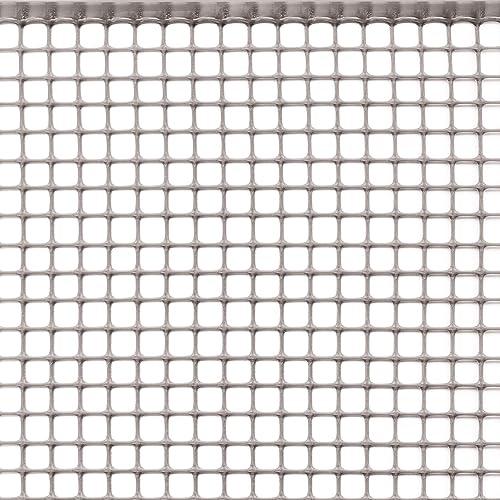 Rete Protettiva in Plastica a Maglia Quadrata per Balconi, Cancelli, Recinzioni o per Bordura, Tenax Quadra 10, Argento, 0,50 x 5 m