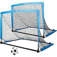 amzdeal Fußballtore für Kinder, 2er Set Pop-up Tor klappbar, 126 x 95 x 95 cm, Schnelle Montage, Ideal für Garten, Park…