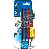 Pilot Frixion Clicker - Paquete de 4 bolígrafos de tinta gel con trazo medio, multicolor