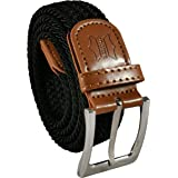 Belt Up Mens Ladies 1.25 Inch Braided Elastic Woven Webbing Casual Smart Belt With Leather