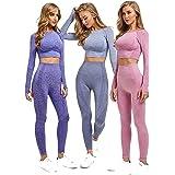 Conjunto Yoga 2 y 3 Piezas para Mujer, ConjuntoDeportivo Pantalones De Yoga Súper Elásticos Sin Costuras mas Bralette para Mu