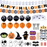 YILEEY Halloween Deko, Mit 78 Stücke Halloween Deko Horror Set, Spinnennetz, Girlande Geister Ghost Kürbis Banner…