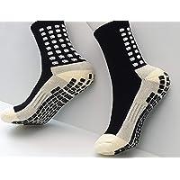 Rokane Anti-slip sports socks pair half calf high with thicker cushion & rubber grip dots, for football/athletics…