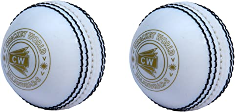 CW Spin Poly Soft Synthetic Machine Stitched Water Resistant Cricket Ball for General Training, Practice and Coaching (White) - Set of 2