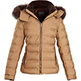 shelikes Womens Jacket Ladies Quilted Faux Fur Winter Coats With Detachable Hood
