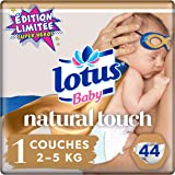 Lotus Baby Natural Touch  – Couches Taille 1 (2-5 kg/Nouveau-Né) - x44 couches - Lot de 2 (88 couches)