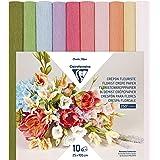 Clairefontaine 995000C Paquet de 10 Rouleaux de Papier Crépon Fleuriste 25x100cm 160g pour fabriquer des fleurs – Assortiment