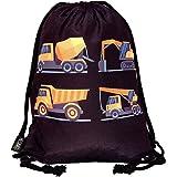 HECKBO® Sacca per Bambini, Ragazzi | con Camion da Lavoro Stampati su Entrambi i Lati | Ideale per Asilo, Scuola Materna, git