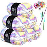 Knitting Yarn Sets,6 * 50g Knitting Assorted Color Yarn Pack for DIY Knitting Craft and Crochet Project,with 2 Crochet Hooks