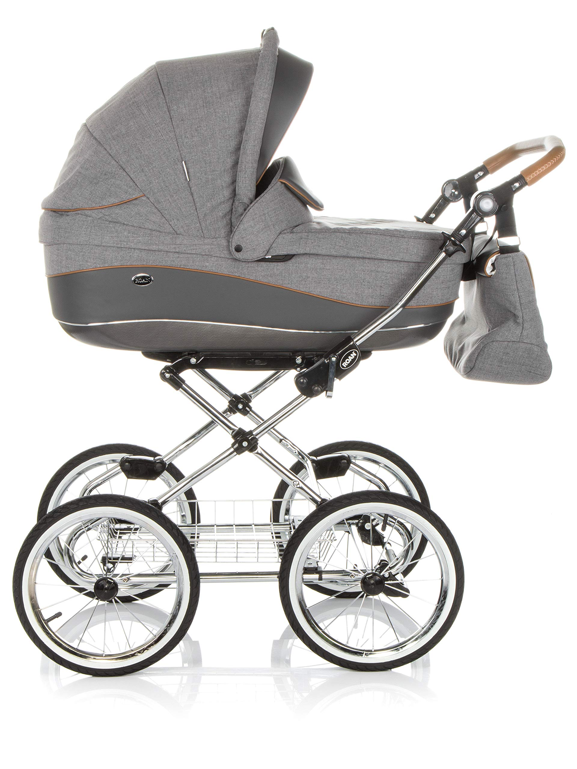 Children's Pram Buggy Stroller Combination Car seat Classic Retro Baby Carrier ROAN Emma (E-56 Grey-Grey Leather, 3IN1) JUNAMA Frame / wheels Sturdy and lightweight aluminum frame construction with folding function 1-click system for easy assembly and disassembly Practical carrying handle for easy storage of the folded frame Wheels for inflating (14 inch) removable wheels Brake system with central brake Height-adjustable push handle - 10-fold matching shopping basket Dimensions folded with wheels: 86 x 60 x 40 cm folded without wheels: 76 x 60 x 26 cm Total height of the stroller to hood top: 106 cm Height of the tub from the ground: 60 cm Wheelbase External dimensions: 80x 58 cm Variable height of the push handle: 77- 119 cm Weight of the frame incl. Wheels and carrying bag 15 kg Carrycot Length and width of carrycot outside: 88 x 42 cm Carrying bag length and width inside: 76 x 35 cm Sturdy plastic tub with comfortable mattress and side protection Ventilation slots on the plastic tub The baby car seat 0-13 kg Maxi-Cosi in black incl. Adapter 2