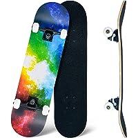CLYCTIP Skateboard,80 x 20 cm Skateboard completo per principianti, 8 strati di acero concavo Cruiser Trick Skateboard…