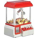 Relaxdays Candy Grabber Münzbetrieben, Süßigkeitenautomat mit Jahrmarkt Musik, Mini Greifautomat Spielzeug, Rot