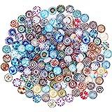 PandaHall - Environ 200pcs 50 Styles Cabochons Verre Demi-Rond/Dome Motif Mosaique Imprime pour Scrapbooking DIY Multicouleur