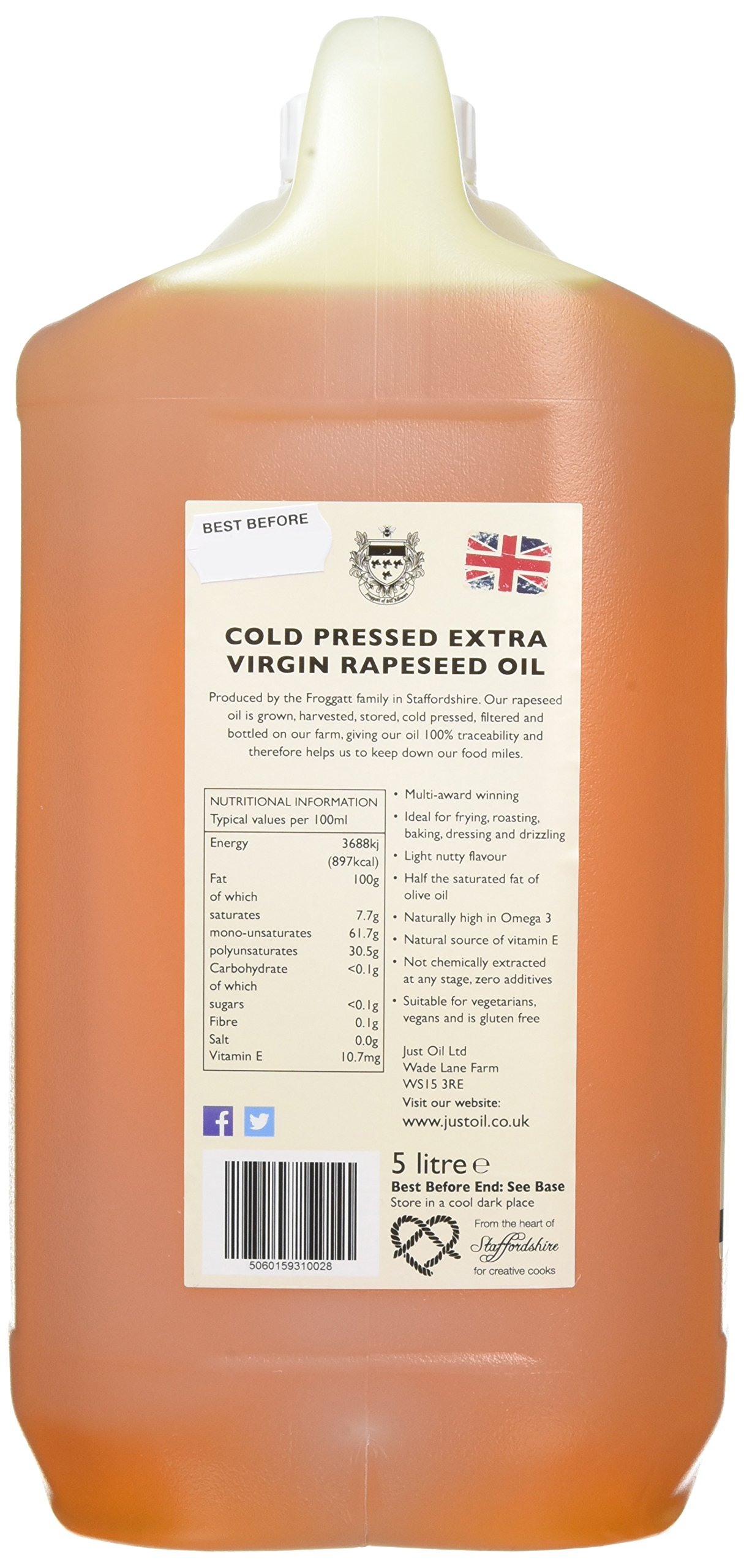 Just Cold Pressed Extra Virgin Rapeseed Oil 5 Litre 3