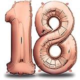 envami Folienballon Zahl I Geburtstagsdeko Rosegold I 100cm I Deko zum Geburtstag I Luftballon Zahlen Dekoration I Happy…