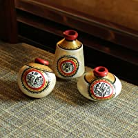 ExclusiveLane Warli Home Decorative Terracotta Showpiece Pot (9.4 cm x 9.4 cm x 8.8 cm, Natural White and Gold, Set of 3)