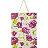 Arrow Paper Purple Flower Design Gift Bags for Gifting, Weddings, Birthday,Holiday Presents(28 cm x 20 cm x 7.5 cm,Pack of 10