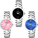 Casera Analog Multi Color Dial Analog Stainless Steel Strap Pack of 3 Combo Watch for Girls and Women