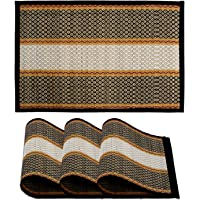 HOKIPO® Handcrafted Madurkathi Heat Resistant Table Placemats Set of 4 for Dining Table, 12x18 Inches, Black