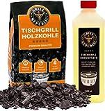Grill Republic Tischgrill-Kohle 2,5kg & Brennpaste 500ml / 100% reine Buchenholzkohle für rauchfreie Tischgrills wie den…