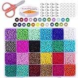 Cuentas de Colores 2mm Mini Cuentas de Cristal 24000 Piezas para DIY Arte y Joyería-Making Pulseras Collares Bisutería (24 Co