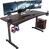 EUREKA ERGONOMIC Bureau Gaming P60 Bureau Gamer Bureau pour Gaming PC Informatique Table Desk Tapis Souris Porte Gobelet Supp