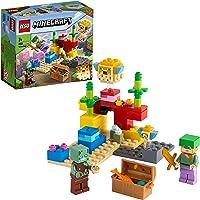 LEGO Minecraft La Barriera Corallina, Set di Costruzioni con Alex, Zombi Annegato e 2 Pesci Palla, 21164