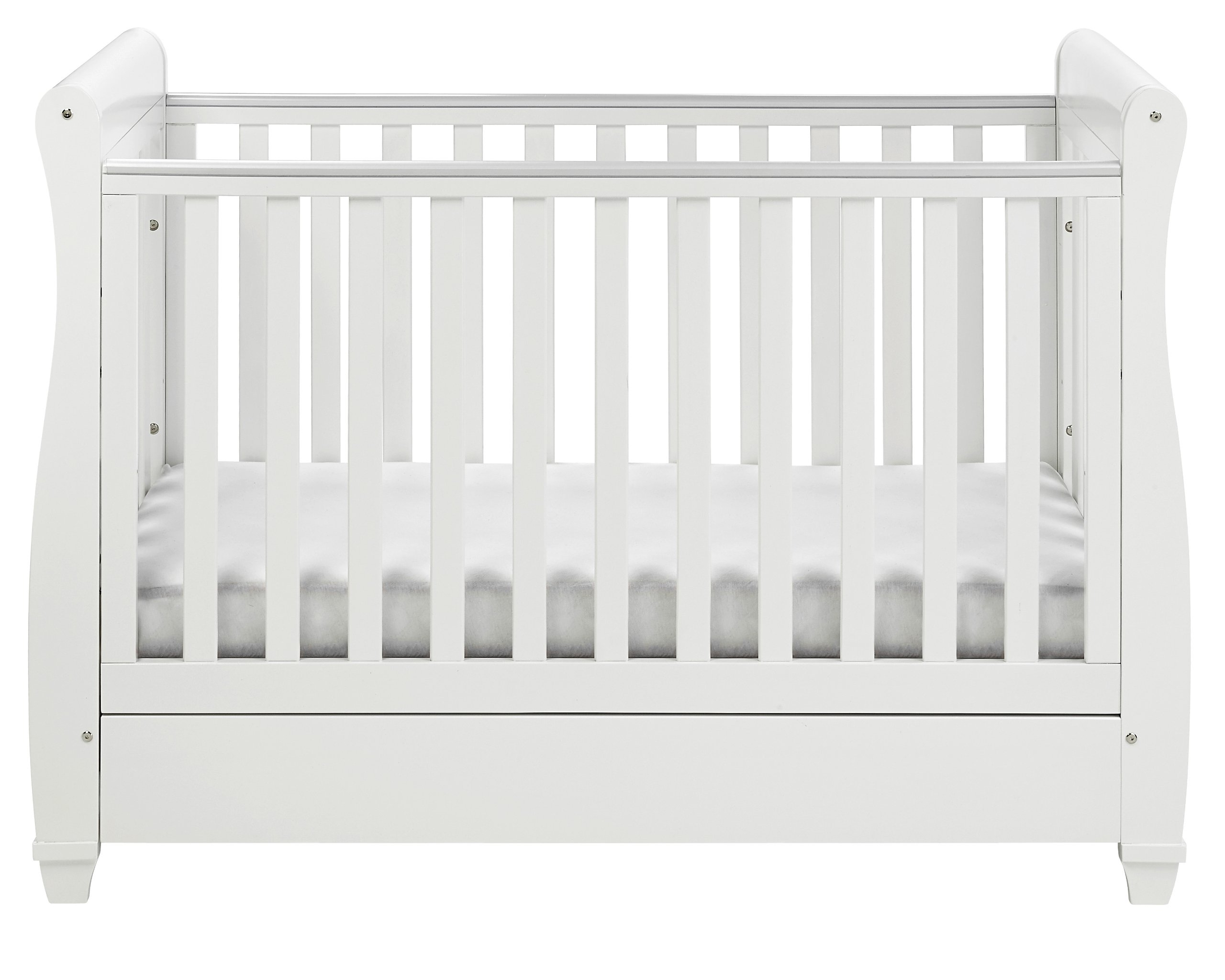 Babymore Eva Sleigh Cot Bed Dropside with Drawer (White Finish) + FOAM MATTRESS  Easily convert to junior bed/sofa/day bed, Meet British and European safety standards; Single handed drop side mechanism allow easy access to your baby Protective Teething rail on top of both sides. Full drawer on runner provide extra storage 4